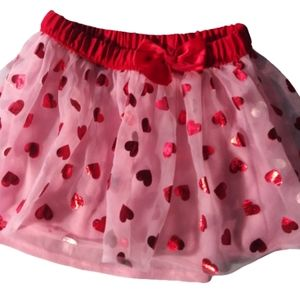 Other - New Girls shiny red heart sheer tutu skirt sz 2